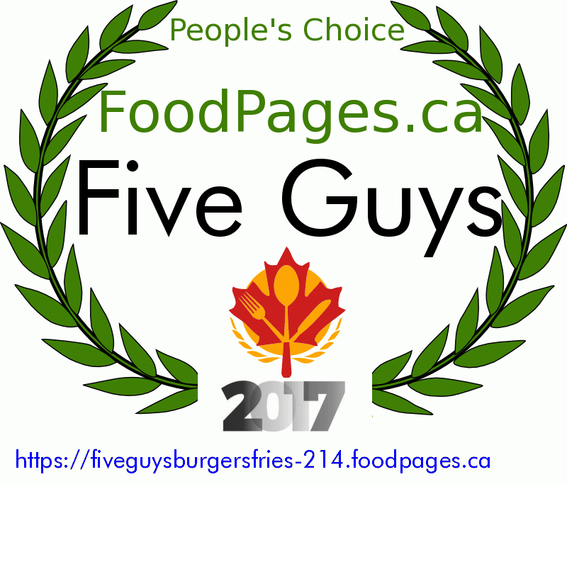 Five Guys FoodPages.ca 2017 Award Winner